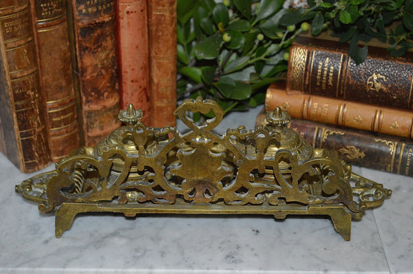 Antique French Brass Inkwell Figural Cherub Dual Inkpots Pen Rest - Antique Flea Finds