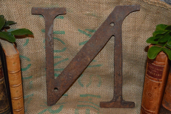 "Antique Cast Iron Letter N Industrial Sign Signage 9"" - Antique Flea Finds"