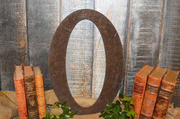 Antique Large Cast Iron Letter O Industrial Sign Signage 16""