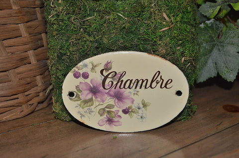 Vintage French Chambre Enamel Sign Chamber Bedroom Door Plaque