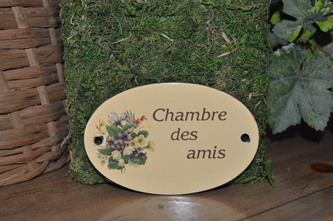 Vintage French Sign Chambre des Amis Guest Room Enamel Plaque