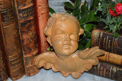 Antique German Cherub Head Carved Natural Wood Angel with Wings