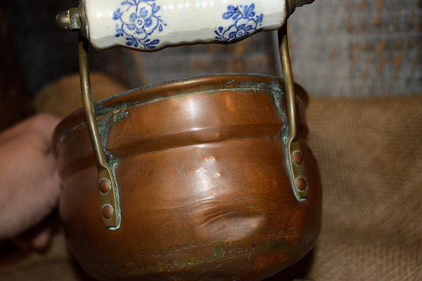 Antique French Copper Jardiniere Planter Porcelain Handles Lion Feet