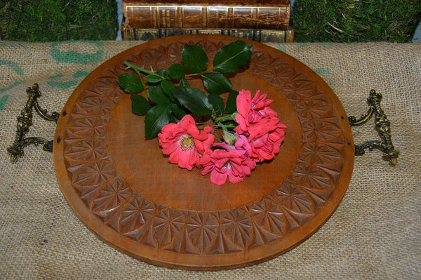 Antique Carved Wood German Tray Round Serving Tray Brass Handles - Antique Flea Finds