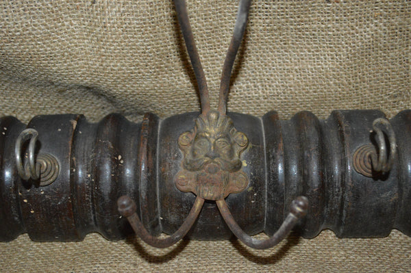 Antique French Wood Coat Hat Rack With 3 Figural Greenman Hooks