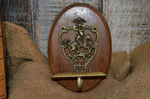 Antique French Hook Brass Knight Shield Hardware Mounted on Oak Wood Plaque