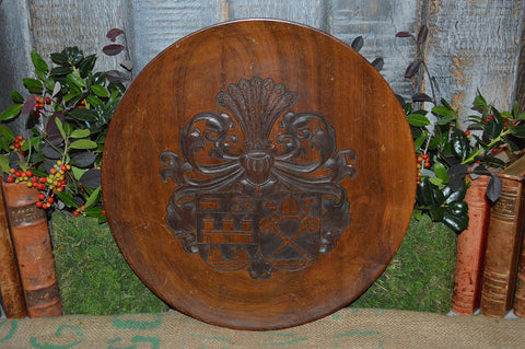Vintage German Carved Wood Crest Coat of Arms Shield Plaque Tray