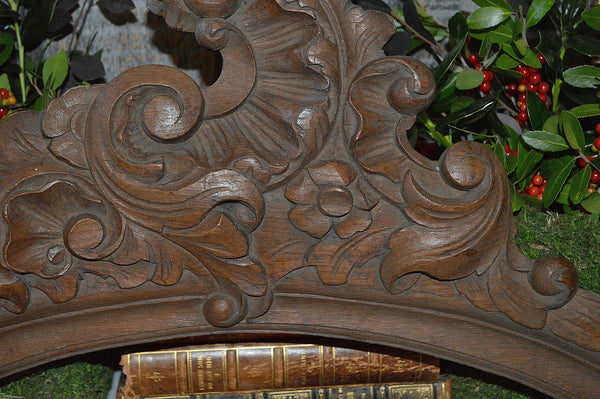 Antique French Carved Pediment Wood Mount Acanthus Scrolls Architectural
