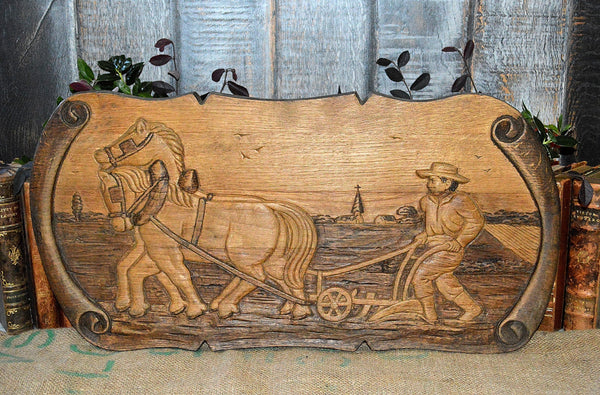 Antique French Carved Wood Relief Plaque Panel French Farmer Plowing