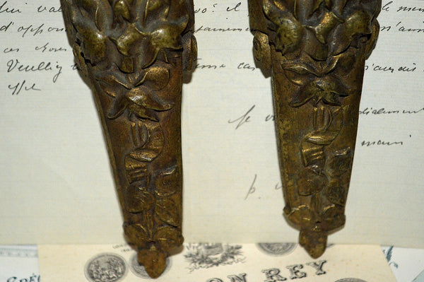 Antique Pair French Pediments Art Deco Floral Bronze Mount Hardware