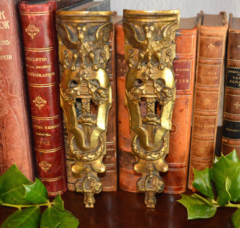 Antique French Figural Gargoyle Griffins Pediments Pair Bronze Ormolu Mounts Hardware