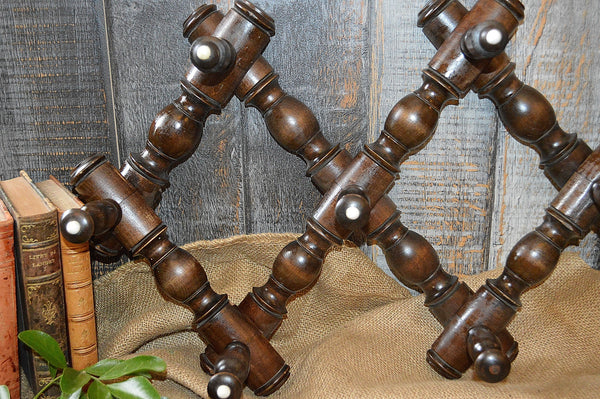 Antique German Expandable Dark Wood Coat Hat Rack with Spindles