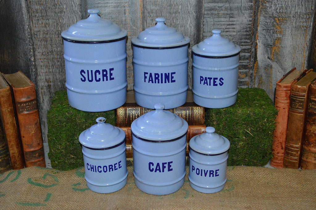 Beautiful Vintage French Light Blue Enamel Canisters Set Of 6 Kitchen Enamelware