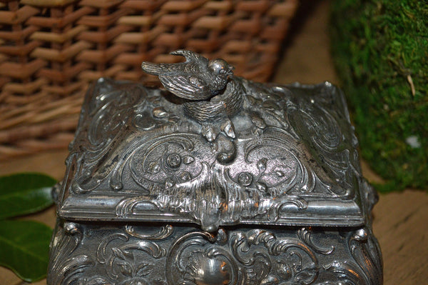 Antique German WMFB Silver Trinket Jewelry Box Art Nouveau Bird