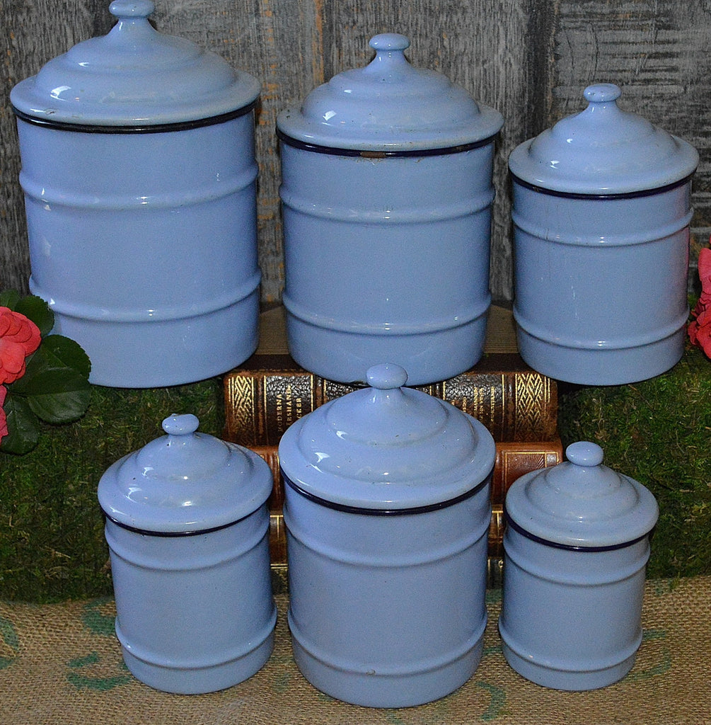 Vintage french light blue enamel canisters set of 6 for Signoraware organise your kitchen set 8 pieces