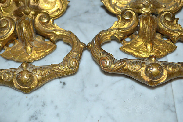 Antique Pair Large French Handles Ormolu Lion Head Drawer Pulls