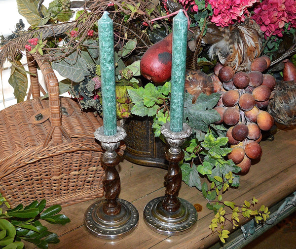 Antique English Barley Twist Candlesticks Pair Oak Chrome Candle Holders