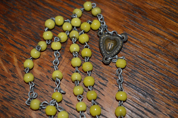 Vintage French Catholic Rosary Crucifix Yellow Beads