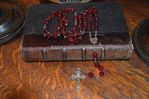 Antique French Catholic Rosary Red Garnet Beads Silver Crucifix Fleur de Lis