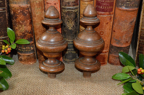 Antique Pair French Architectural Finials Turned Oak Wood Drapery Furniture
