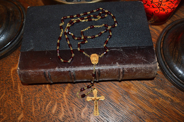 Antique French Catholic Rosary Red Garnet Beads Crucifix Virgin Mary