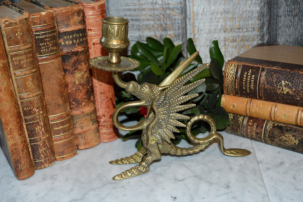 Vintage French Griffin Brass Candle Holder Dragon Gothic Candlestick