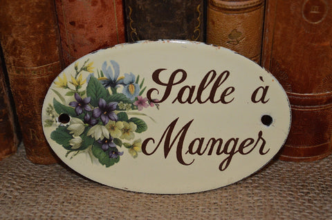 Vintage French Salle a Manger Enamel Sign Dining Room Plaque