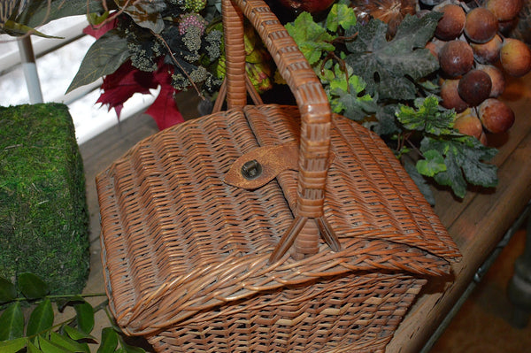 Antique English Wicker Sewing Picnic Basket
