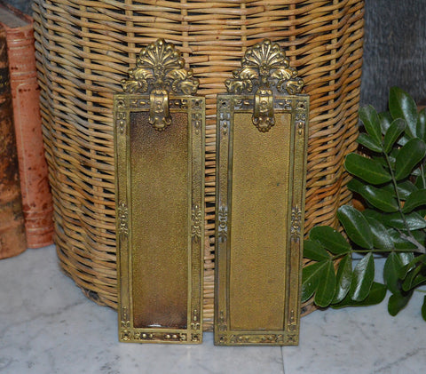 Antique Pair French Finger Door Plates Brass Shell & Floral Design Hardware