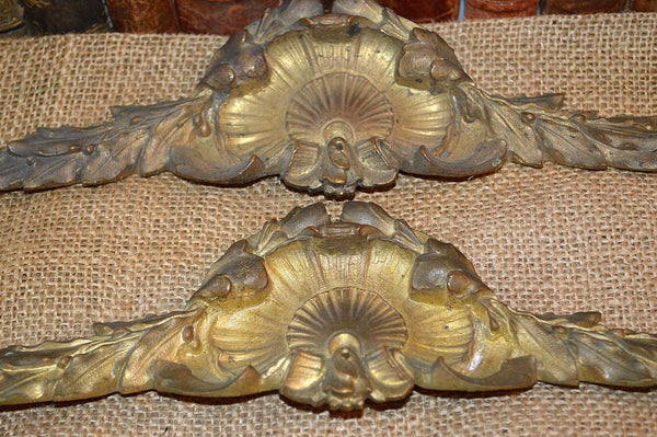 Antique French Bronze Pediment Architectural Mount Shell Pattern