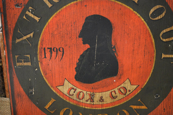 Vintage London Cox & Co. Wooden Beer Sign Advertising Extra Stout