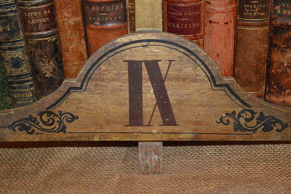 Antique European Wood Church Cross Gilded Plaque Marker Roman Numeral Choose from 6-10