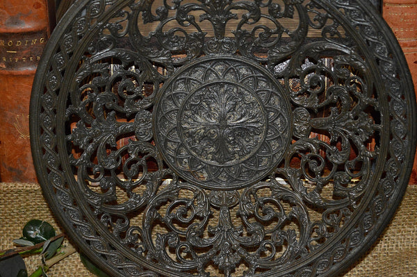Antique French Iron Tray Dish Acanthus Pattern