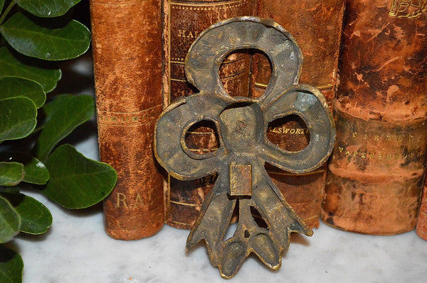 Antique French Bronze Bow Picture Hook Cover Hardware Mount Decoration - Antique Flea Finds