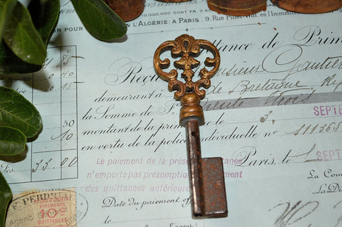 Antique French Uncut Barrel Key Large Ornate Acanthus Skeleton Bronze Hardware 2 Available