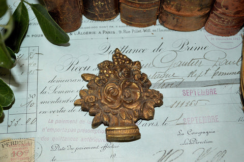 Antique French Floral Urn Picture Hook Cover Ormolu Mount Hardware