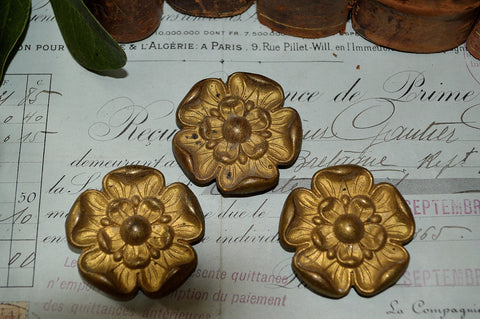 Antique Set of 3 French Rosettes Brass Floral Picture Hook Covers Hardware