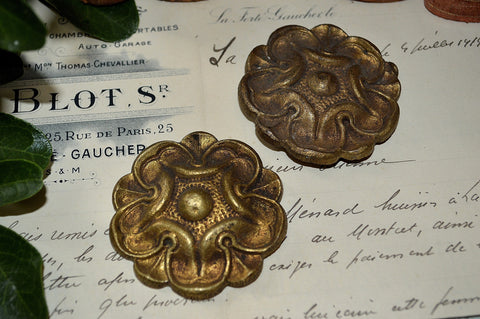 Antique Pair French Rosettes Bronze Floral Picture Hook Covers Hardware