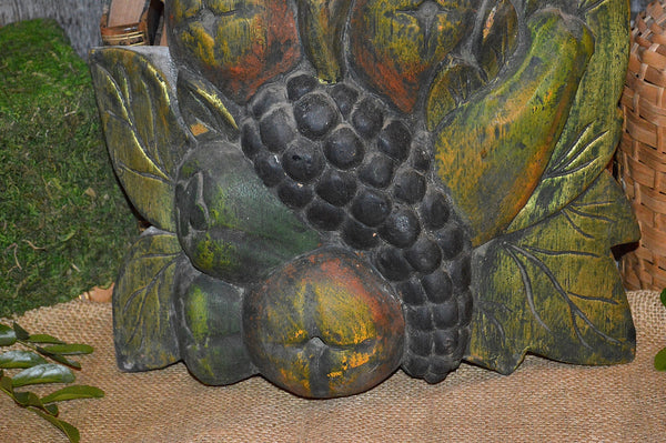 Antique Carved Wood Fruit Wall Plaque Decoration Gilded Painted