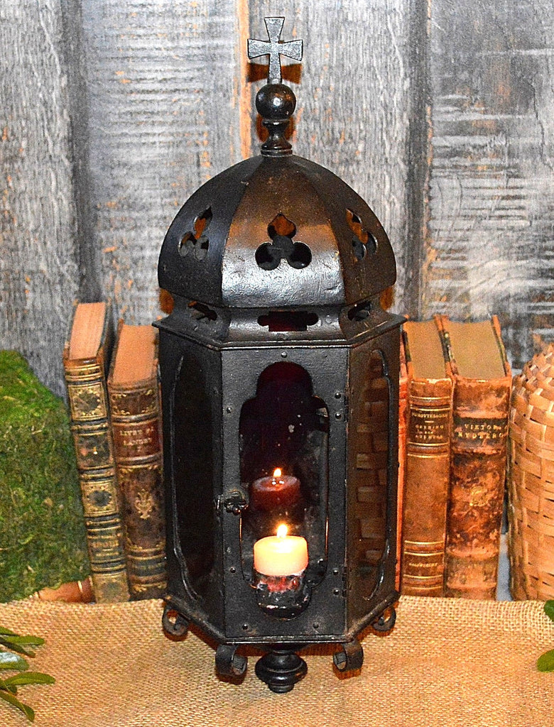 Antique French Processional Lantern Gothic Cast Iron Religious Trefoils
