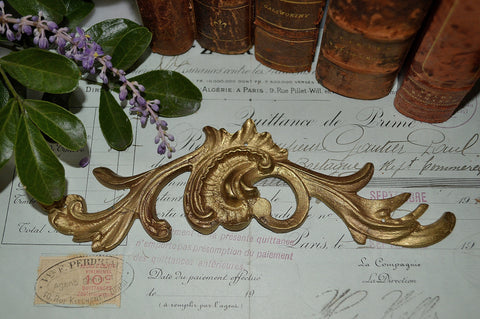 Antique French Bronze Ornate Acanthus Pediment Trim Mount Decoration 4 Available - Antique Flea Finds
