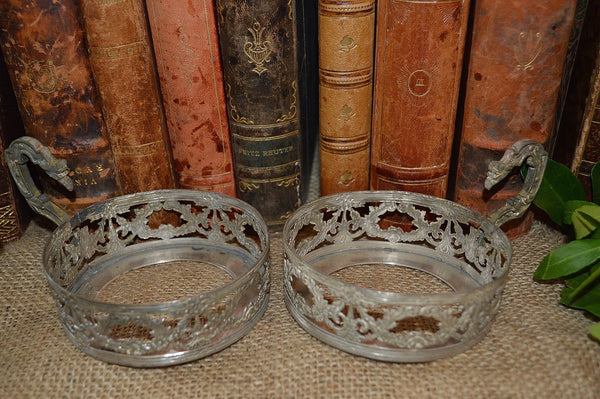 Antique French Silverplated Bottle Caddy Coaster Holder Fleur de Lis Laurel Wreaths 2 Available