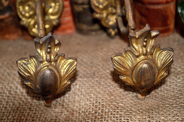 Antique Pair Small French Drapery Tie Backs Hooks Bronze Ormolu Hardware
