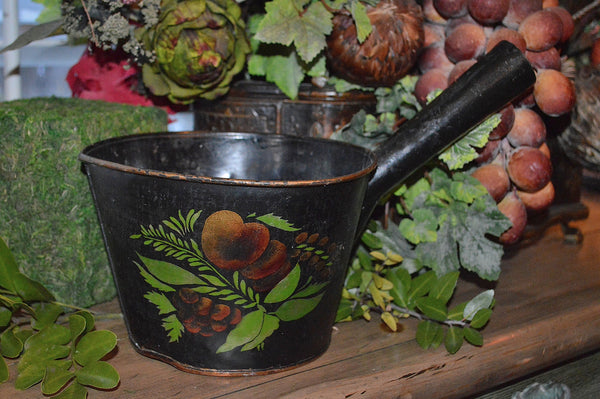 Antique Copper Tole Ladle Scoop Black Painted Toleware Fruit