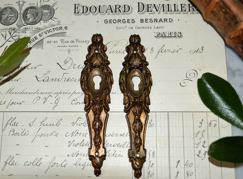 Antique French Pair Bronze Ormolu Escutcheons Vertical Keyholes Laurel Wreath
