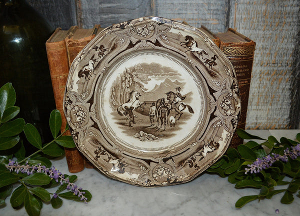 Antique English Shaw's Peruvian Horse Hunt Plate Brown Transferware Staffordshire - Antique Flea Finds