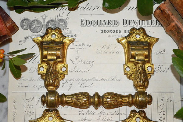 Antique Large Pair French Bronze Ormolu Drawer Pulls Furniture Handles
