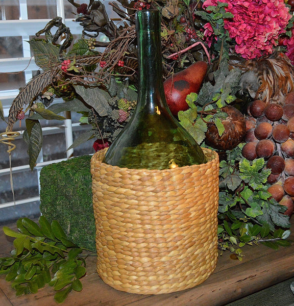 Antique French Demijohn Green Glass Bottle In Wicker Basket