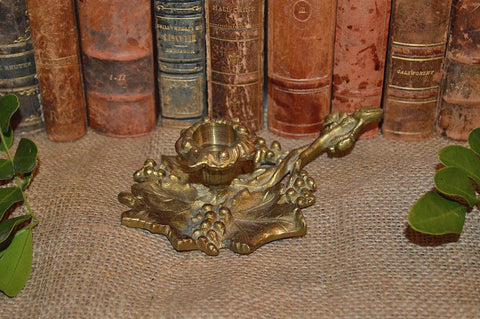 Antique French Candle Holder Brass Chamber Style Grapevine Design