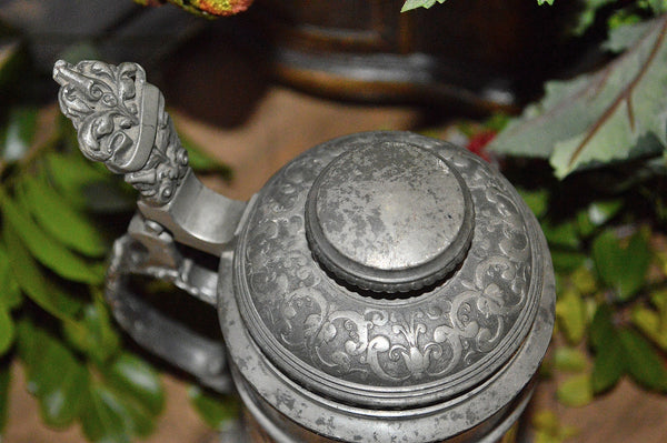 Antique German Pewter Stein Rampant Lion Crest Engraved